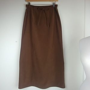 Talbots, faux suede stretch long pencil skirt